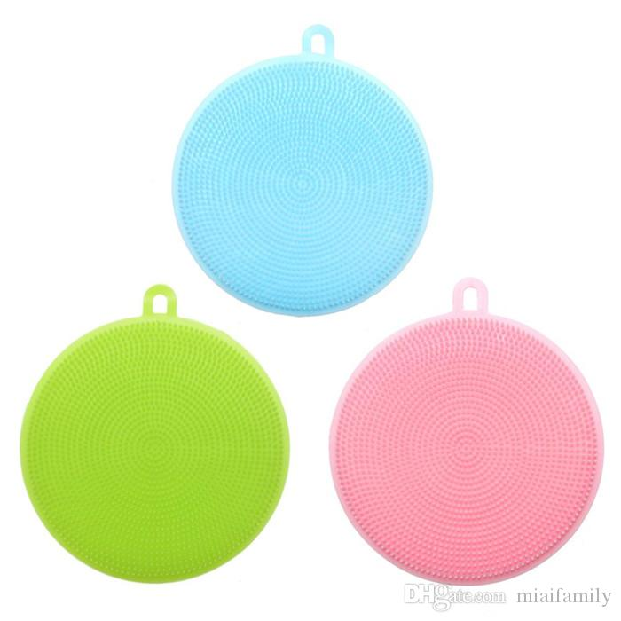 New Wash Brushes Silicone Dish Bowl Cleaning Brushes Scouring Pad Pot Pan Wash Brushes Cleaner Kitchen