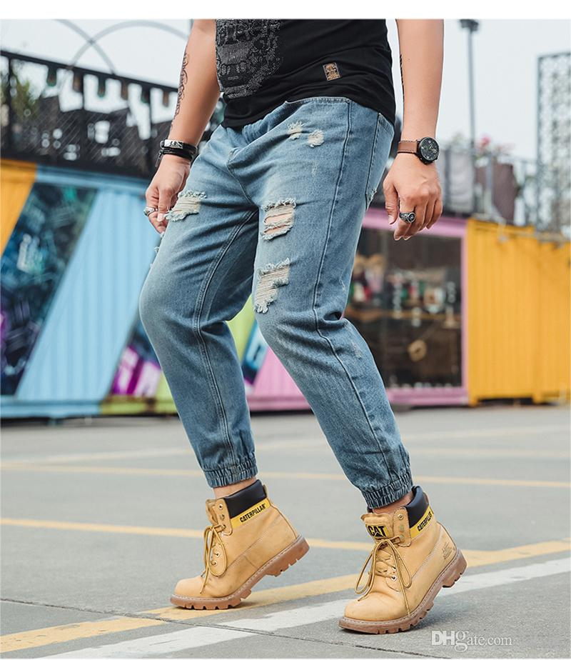 New Jeans Retro Nostalgia Beam Foot Denim Jeans Men Plus Size S-6XL Casual Men Long Holes Harem Pants Trousers Brand Biker