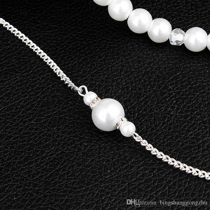Collar de novia con perlas de nuevo modesto Collar de novia con forma de boho Joyería nupcial Collares con espalda larga Contexto de novia Collares Cadenas corporales