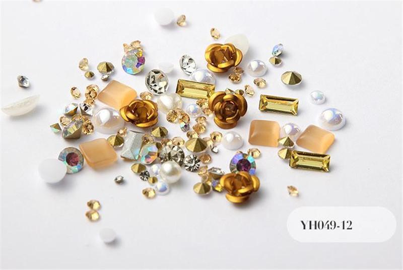Neue 3D-Rosen-Blumen-Nagel-Kunst-Dekorationen DIY Entwurf-glänzender Diamant-Perlen-Nagel-Kunst-Zubehör 12 Farben
