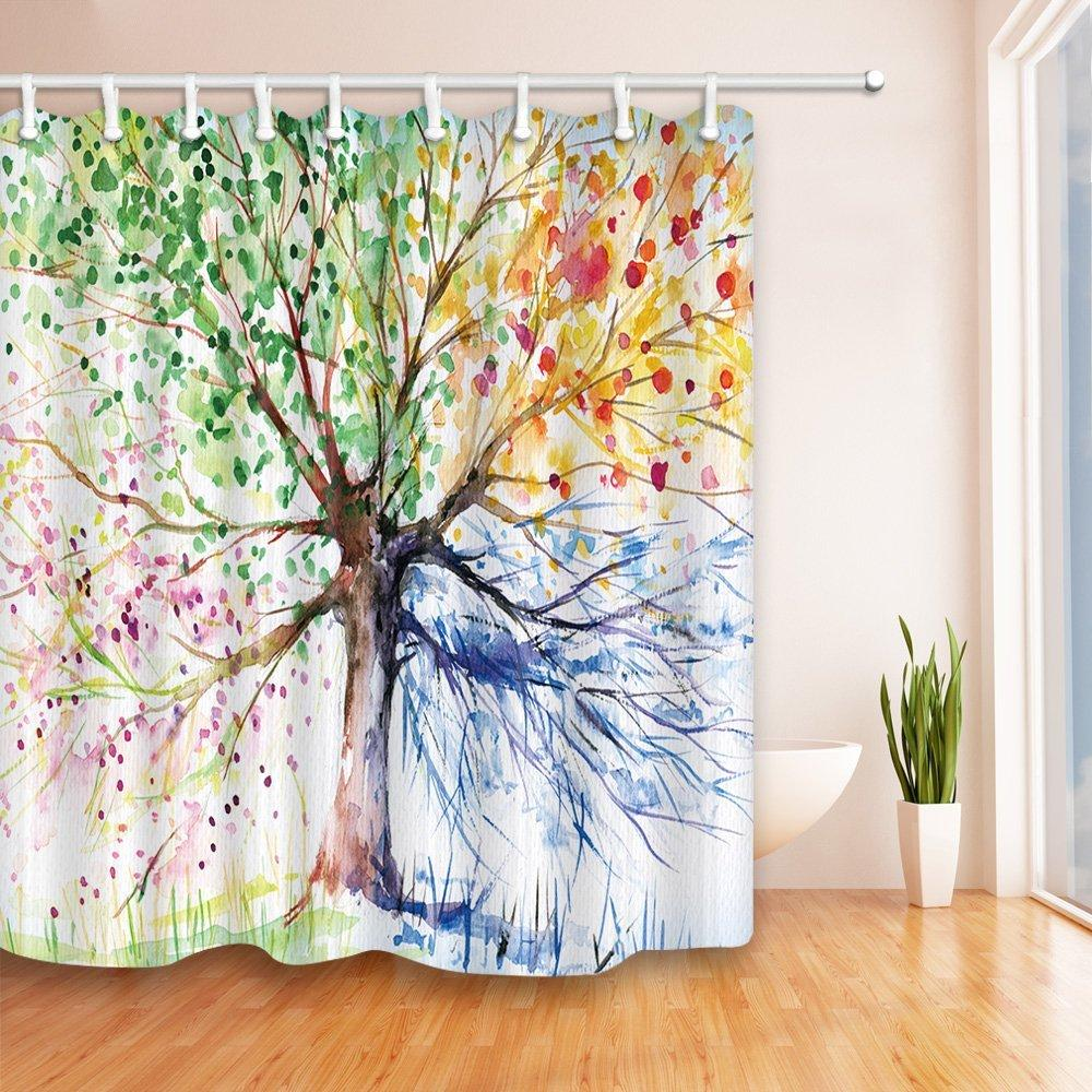 2018 Creative Trees Decoration Bath Curtain Colorful Watercolor Spring Life Tree Shower Mildew Resistant Fabric For Bathroom From Kunnylight
