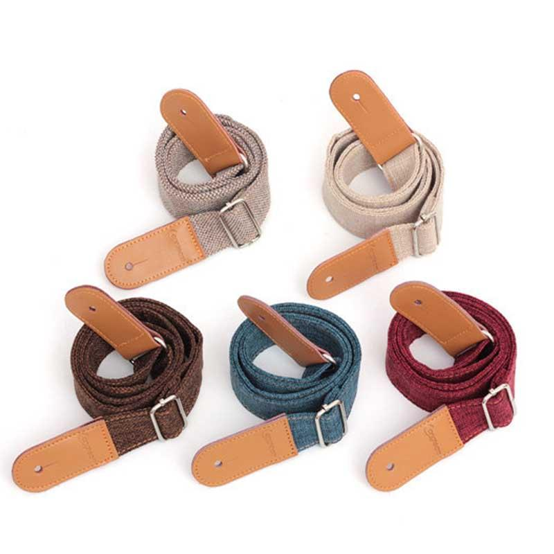 Linen Cotton Small Guitar Ukulele Strap Adjustable Belt With Pu
