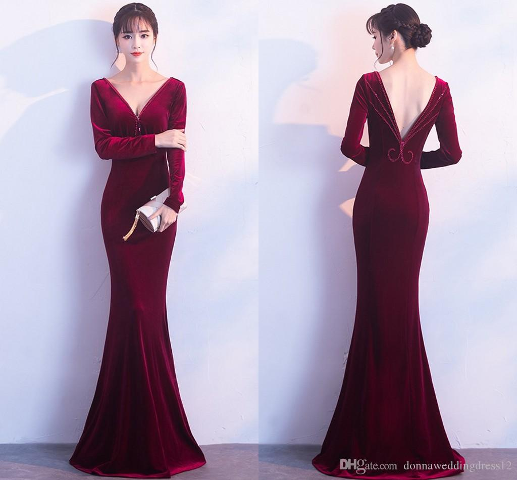 2018 New Fashion Burgundy Green Velvet Long Prom Dress V Neck Backless  Beads Mermaid Evening Gowns Formal Party Dress Vestidos De Noiva Vintage  Lace Prom ... 6fcaace9fa28