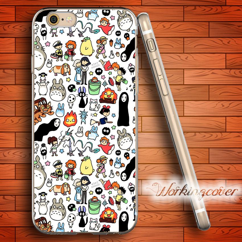 outlet store 4579c b2316 Coque Kawaii Totoro Doodle Clear TPU Silicone Case for iPhone X 8 6 6S 7  Plus 5S SE 5 5C 4S 4 Case for iPod Touch 6 5 Cover.