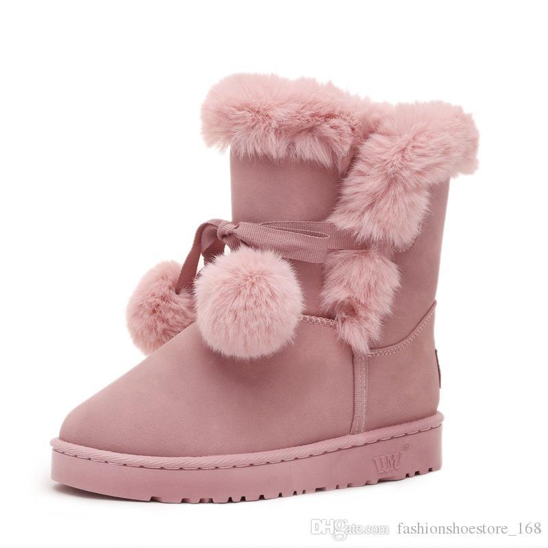 Großhandel Marke Frauen SnowStiefel Haar Ball Fluffy Winter Schuhe ... ... Schuhe 9fbb49