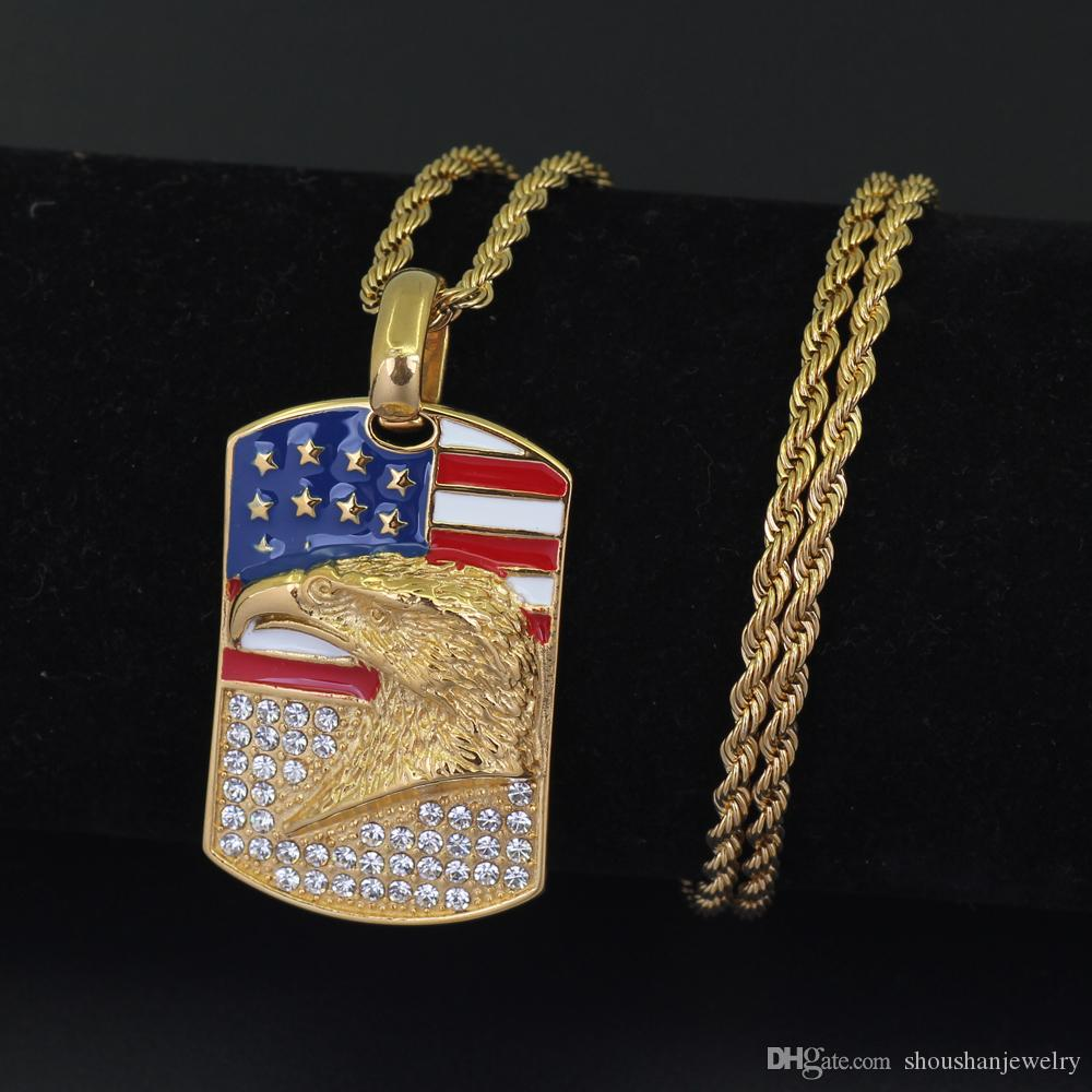 Stainless Steel Jewelry hip hop Eagle on US flag Pendant Necklace with 24inch Rope Chain SN104