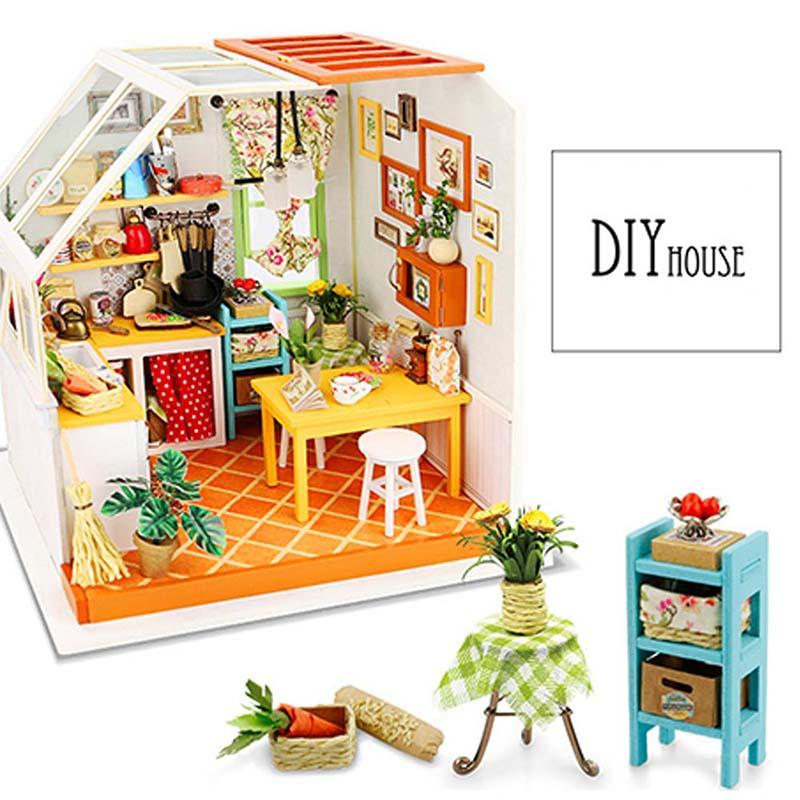 Diy Handmade Wooden Dollhouse Miniature Doll House With Furniture 3d Wooden House Girls Room Decoration Toys For Kids Gift Home