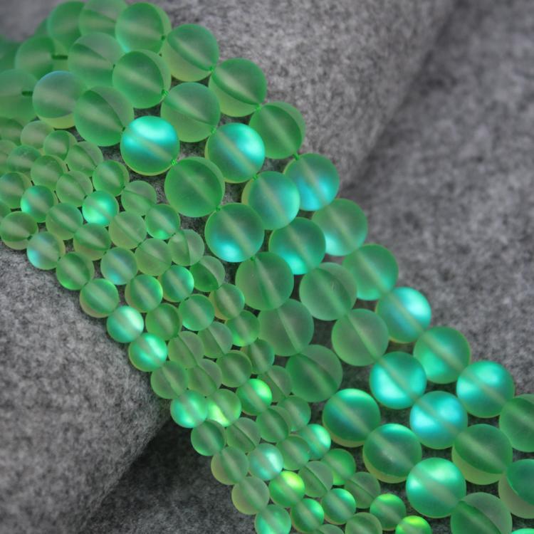 649fe0bb82aa 1 Strand Mujeres Collar Pulsera Accesorios de BRICOLAJE Piedra de Cristal  Sintético Helado Verde Redondo Perlas Sueltas para la Fabricación de Joyas