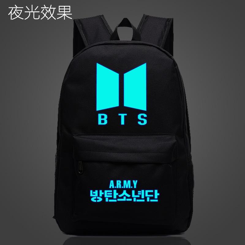 2761f041cf 2017 Luminous Korean Women Backpack BTS Printing School Bag For Teenage  Girls Boys Waterproof Travel Bag Nylon Mochila Galaxia Y18110201 Army  Backpack Water ...