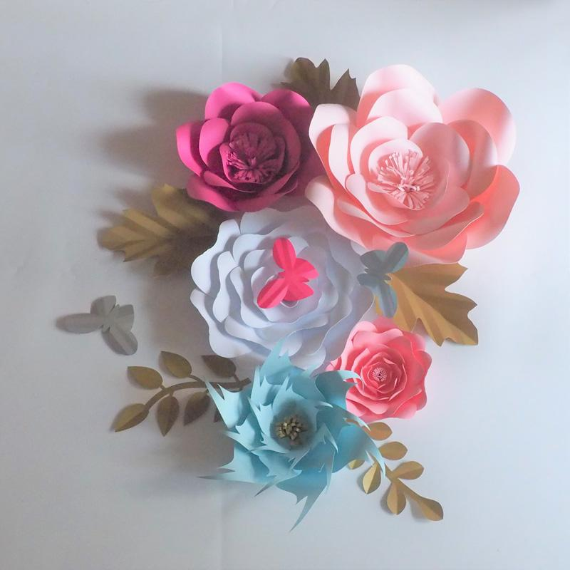 2018 Aritificial Paper Flowers Backdrop Giant Flower Full Kits ...