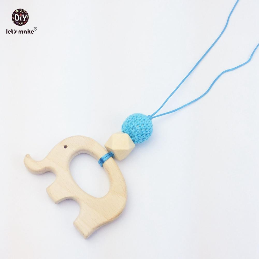 Let's Make wooden teether giraffe wood beads elephant crochet beads necklace rattle toys montessori play gym accessories