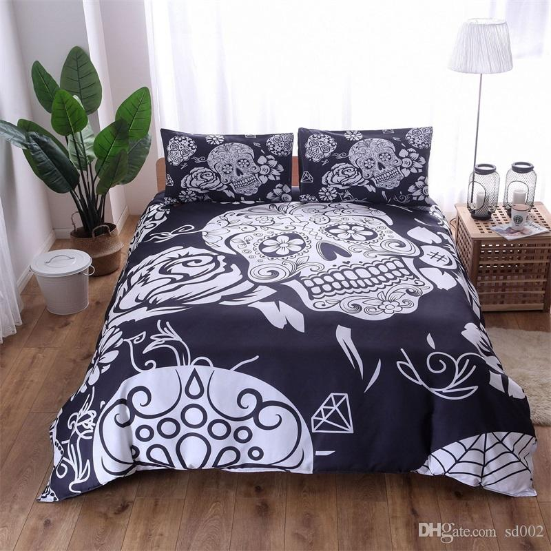 European Style 4pcs Suit Bedding Sets Fashion Skull Pillow Case Queen Size  Luxury Quilt Cover Multi