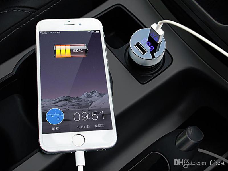 Car Charger 5V 3.1A 2.1A Fast Charging Dual USB Port LED Display Cigarette Lighter Portable Phone Adapter Car Voltage Diagnostic