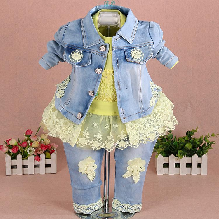 8220e33d7 Baby Girl Denim 2018 Girls Cowboy Embroidery Lace Flowers Coat+top+ ...