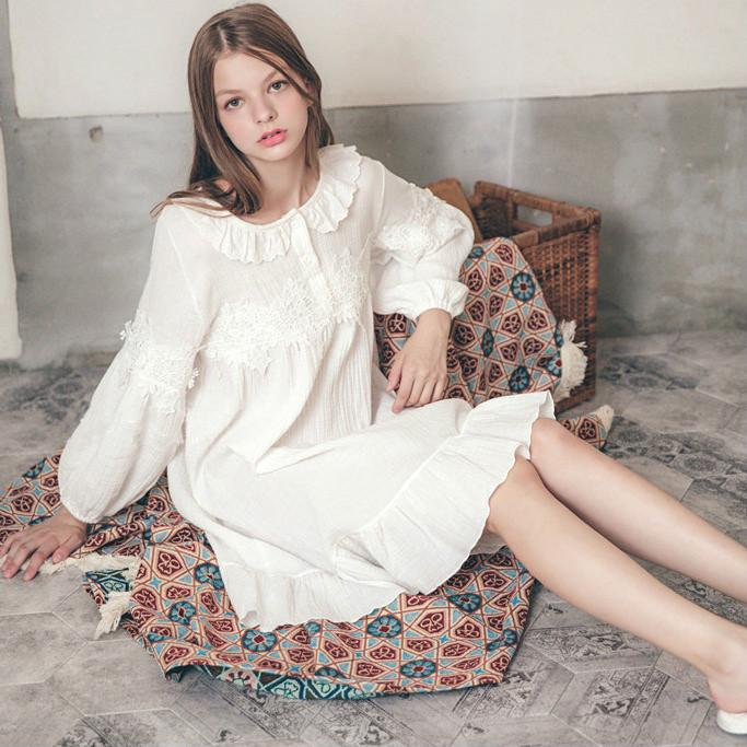 a198eb2ea2 2019 Popular Cotton Sleeping Dress Long Sleeved Home Dress Sexy Sweet Lady  Pajamas Women Sleep Coat Nightgown Nightclothes Wholesale From Wildrose021
