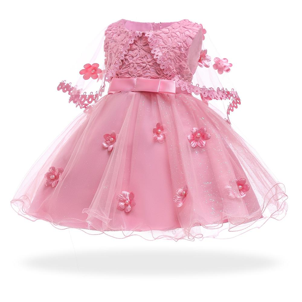 c89e15b3a6 Free Shipping Cotton Lining Infant Dresses 2018 New Dust Pink Baby Dress  For 1 Year Girl Birthday Formal Toddler Princess Gowns