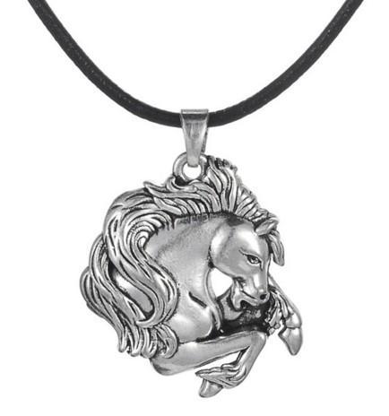 Colgantes del collar del caballo del esmalte para el envío de la gota del regalo de la joyería del esmalte plateado de las mujeres