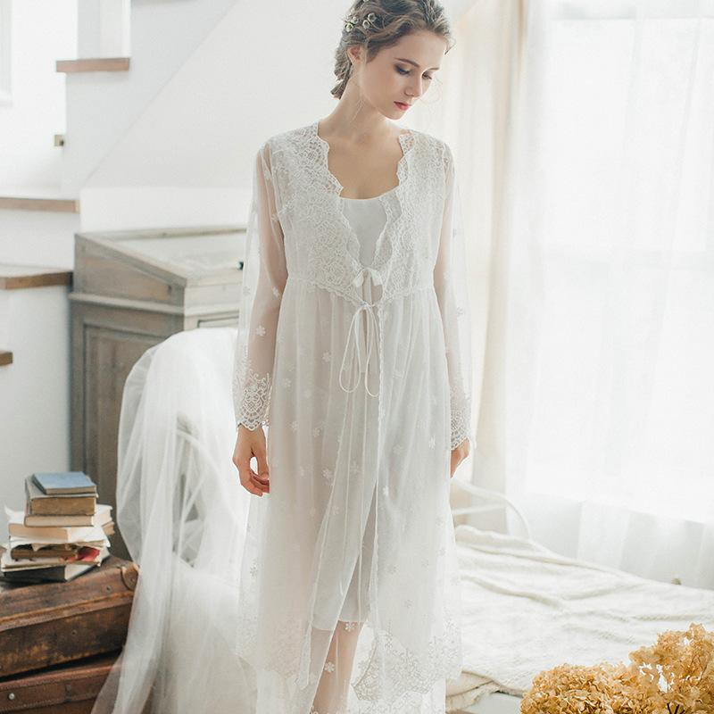2019 Robes Set 2018 Nightgown Sleepshirts Lace Cotton Bathrobe Sets Sexy  Nightdress Peignoir Wedding Robe Sets Bridesmaid Robes From Bida Jany 48848175c
