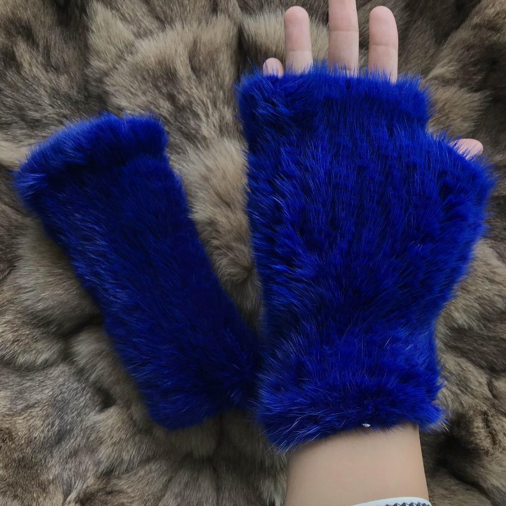 6e0d341a Guantes sin dedos Magicfur-Real Guantes azules Guantes cálidos Mitones  Guante de piel real para mujeres