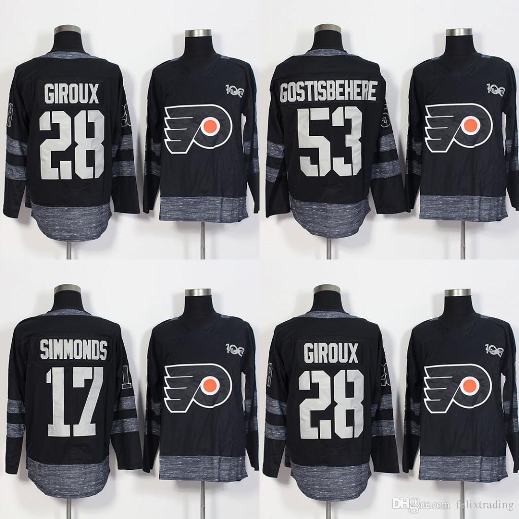 sports shoes b853a f449a Philadelphia Flyers 100 Anniversary 17 Wayne Simmonds 28 Claude Giroux 53  Shayne Gostisbehere 2017 Centennial Classic Hockey Jerseys