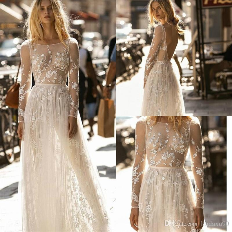 51415c1a18a Discount Gali Karten Wedding Dresses 2019 Illusion Appliques A Line Long  Sleeve Wedding Dress Sweep Train Modest Bridal Gowns Beach Dress A Line  Bridal ...