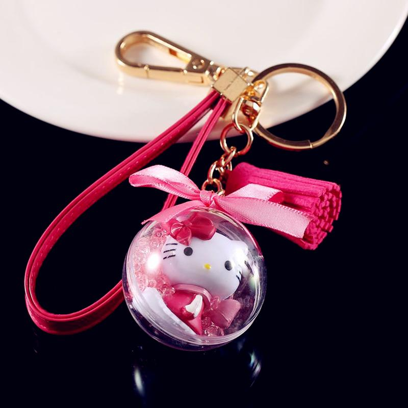 9578ea608412 Cute Cartoon Cat Hello Kitty Doll Keychain Leather Rope Key Holder Metal Key  Chain Keyring Charm Bag Auto Pendant Gifts New Arri Key Wallet Key Lanyards  ...