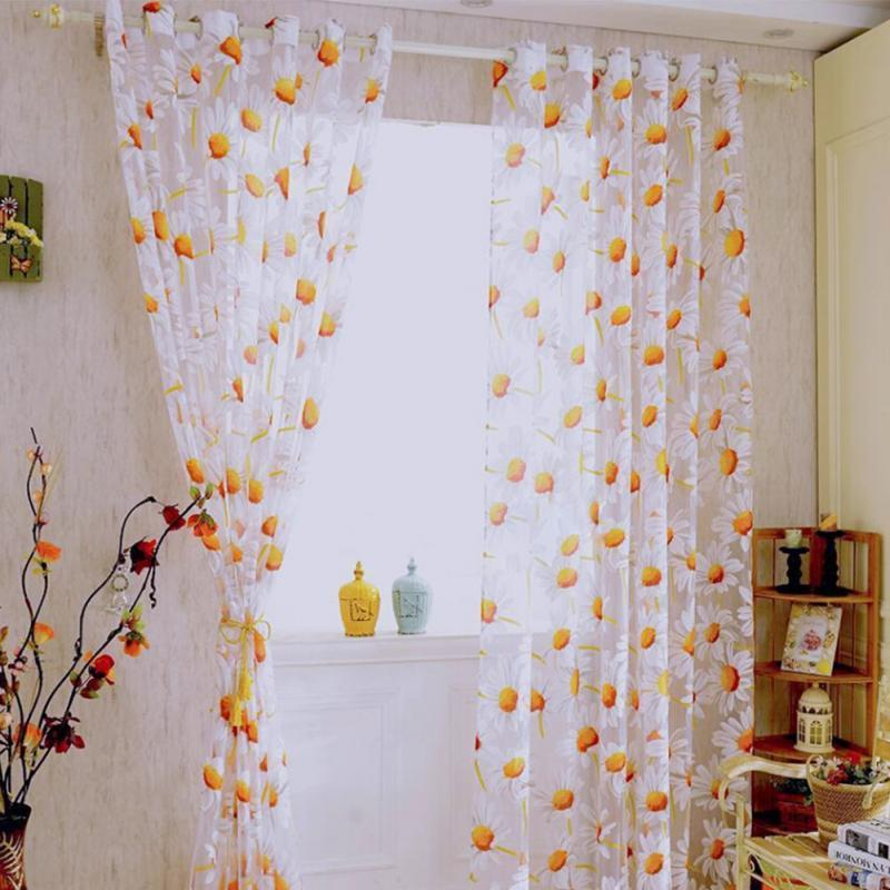 Sunflower Sheer Curtain Panel Decorative Window Gauze Fabric For