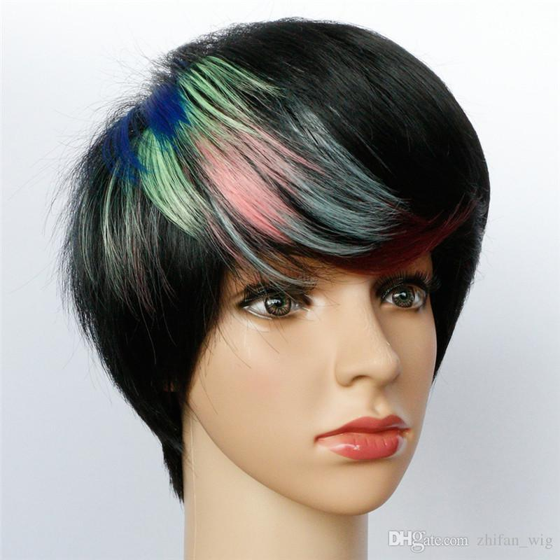 Z&F Short Wigs Black Wig With Mixed Colors Highlights Man Fashion Style Rose Net Men Normal Hip-Hop Party Show
