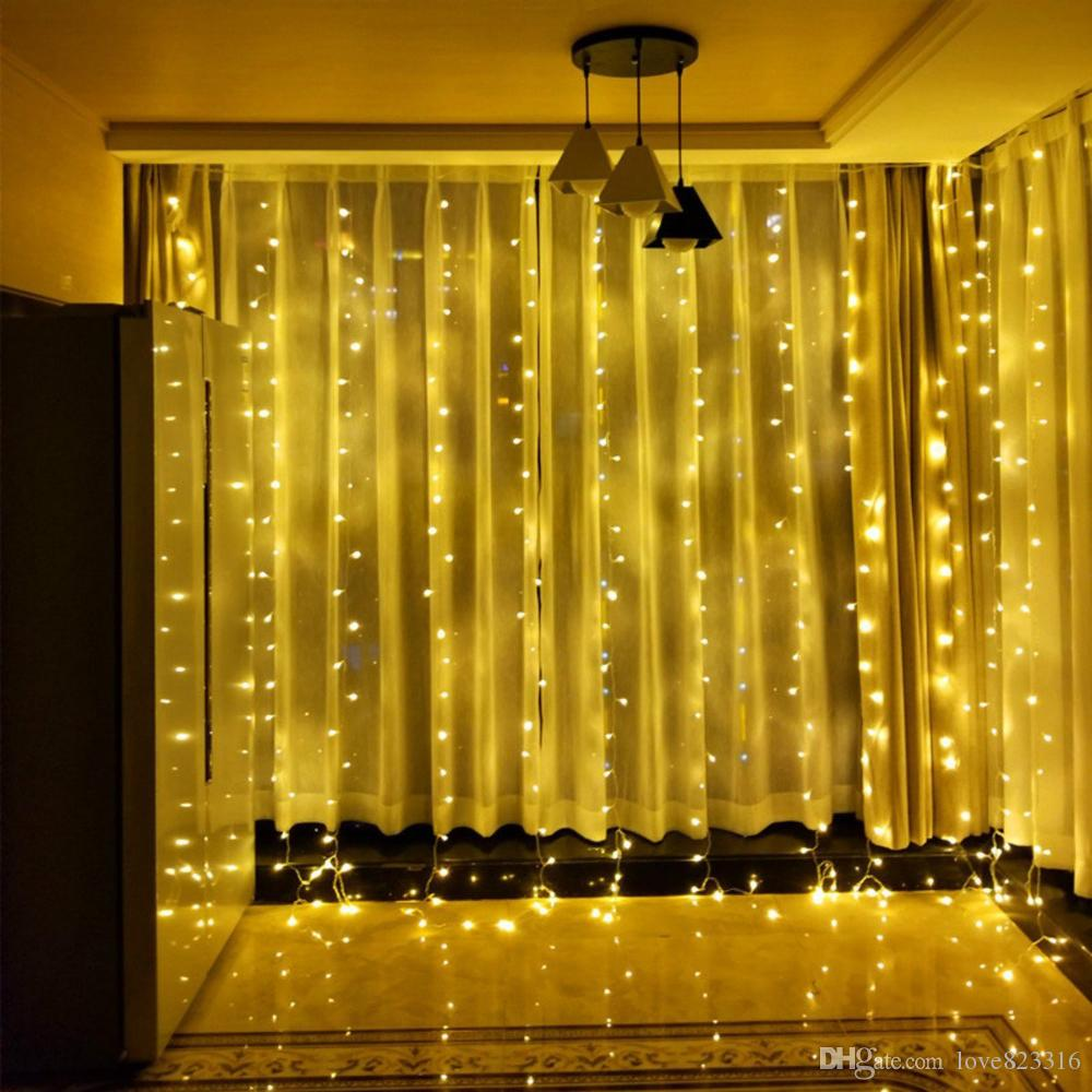 3x3m Led Window Curtain String Lights 300 Christmas For Light Wiring Diagram In Addition Wedding Party Home Garden Bedroom Wall Decorations Outdoor Lantern