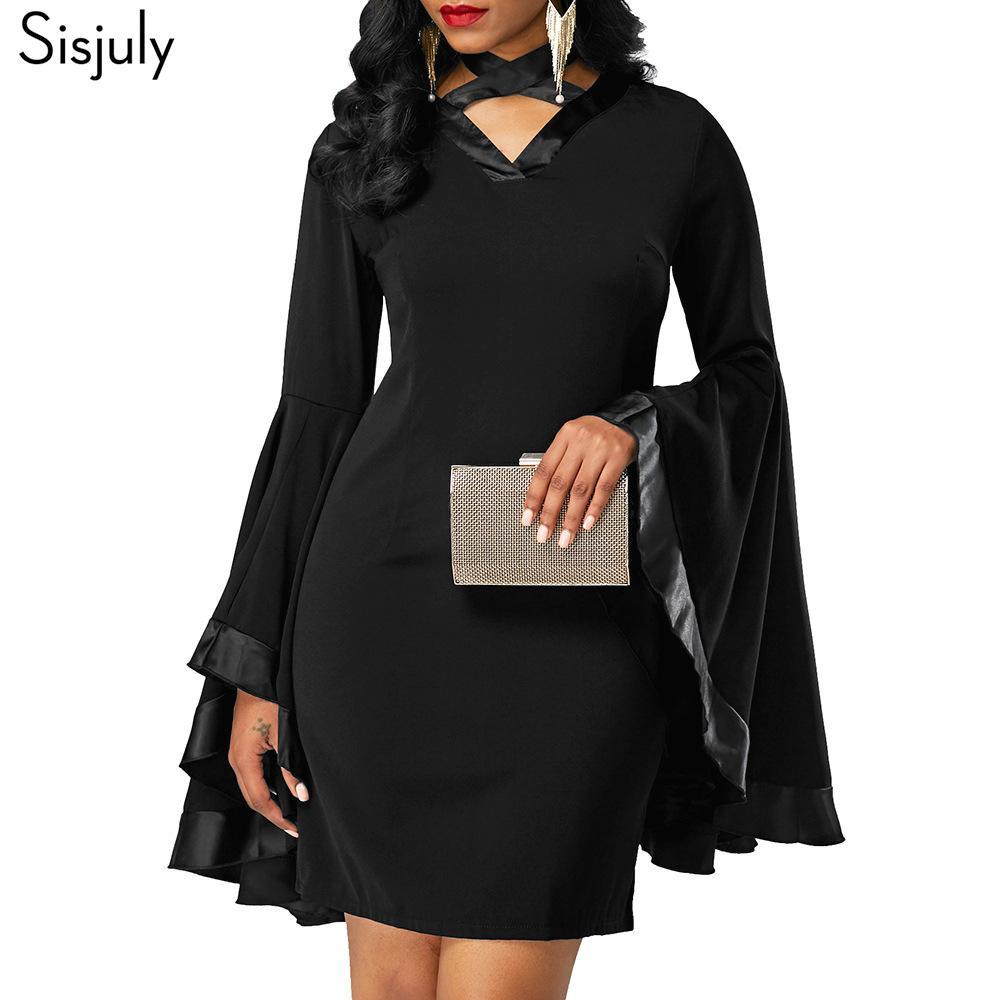 ed82b12f3ea1 2019 Sisjuly Women Gothic Black Bodycon Mini Dress Autumn Ruffle Long Flare  Sleeve Ribbon Badage Lace Up Pentacle Goth Short Dresses D18111205 From ...