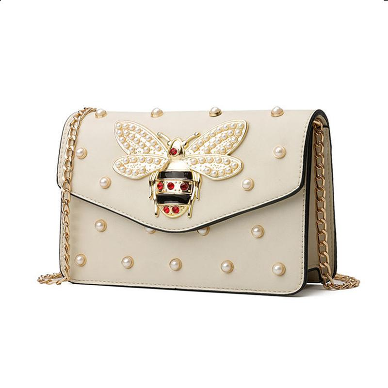 Women Luxury Handbags Designer Fashion Casual Bee Pearl Mosaic Chain Mini  Flap Bags Girls Messenger Shoulder Bags 2018 New Hot Top-Handle Bags Cheap  ... b6b41dfe3101