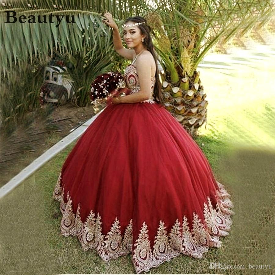 9d0d6a7da5 Cinderella Quinceanera Dresses 2018 Gold Lace Burgundy Corset Sweet 16 Dress  Arabic Plus Size Birthday Party Prom Ball Gown Vestidos 15 Anos Canada 2019  ...