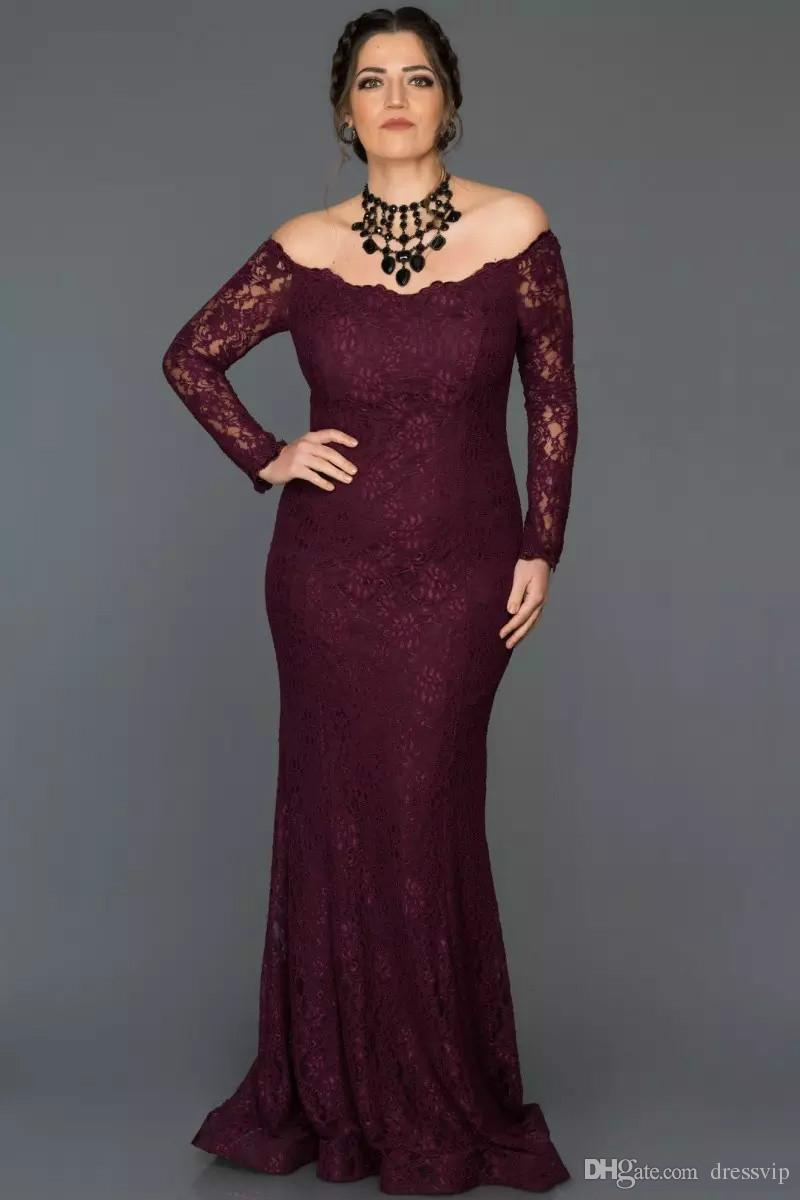 2018 Navy Blue Mother Of The Bride Dresses Off Shoulder Lace Mermaid Prom Dress Mother's Gift The Best Gift Plus Size Mother Gown