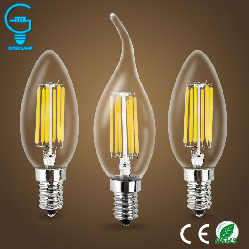 2W 4W 6W E14 220V AC LED Filament Candle Bulbs 360 Degree bulb New Design lamp Replace Incandescent Light Energy Saving Dimmable
