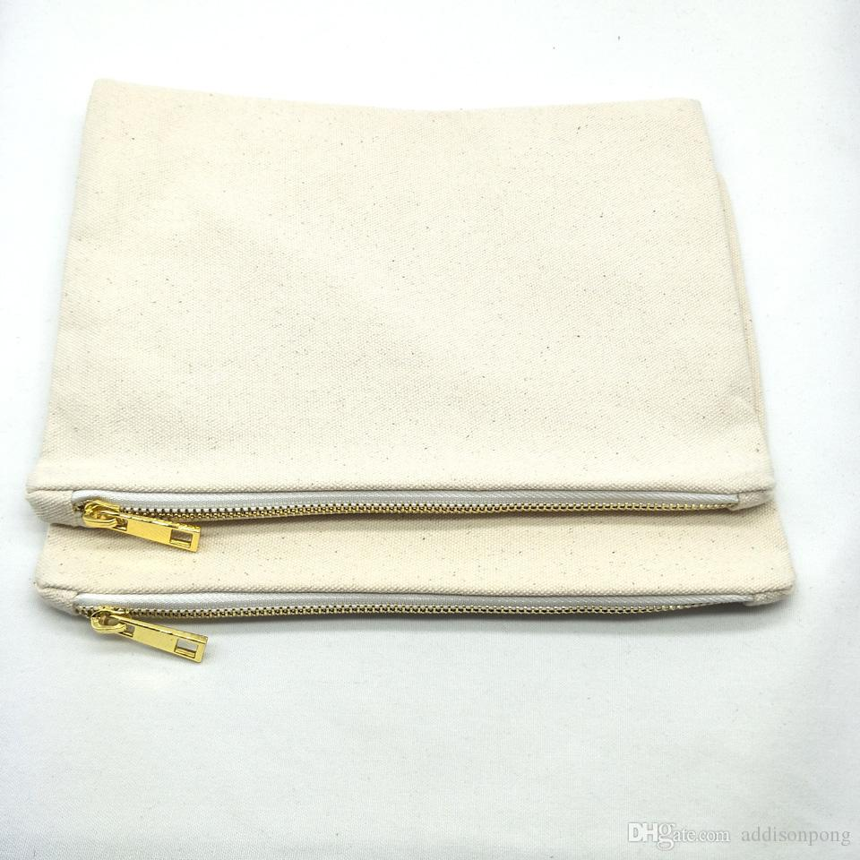 7x10in blank 12oz natural cotton canvas makeup bag with matching color lining gold zip blank canvas cosmetic bag for DIY print