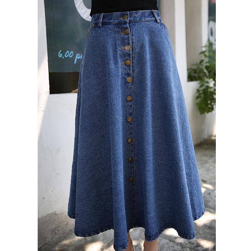 cb8e7b4e6d31 2019 Summer 2016 Women Long Denim Skirt Femme Casual Loose High Waisted  Single Breasted Maxi Jean Skirt Saias Feminina Skirts Womens From Carawayo