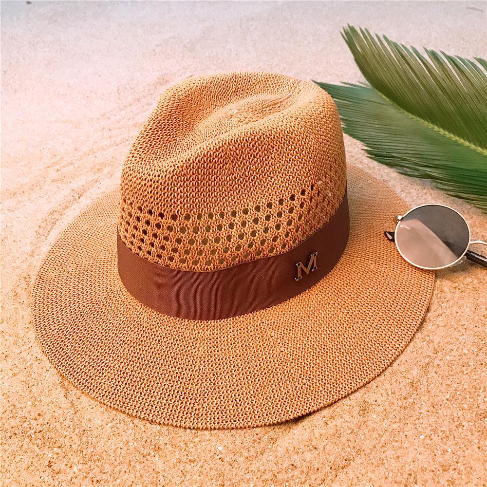 Fashion Women Men Summer Straw Panama Hat For Lady Wide Brim Beach Sun Hat  With Mesh Sunbonnet Cap Size 56 58CM Mens Hats Floppy Hat From Huazu 9d32ed286d3
