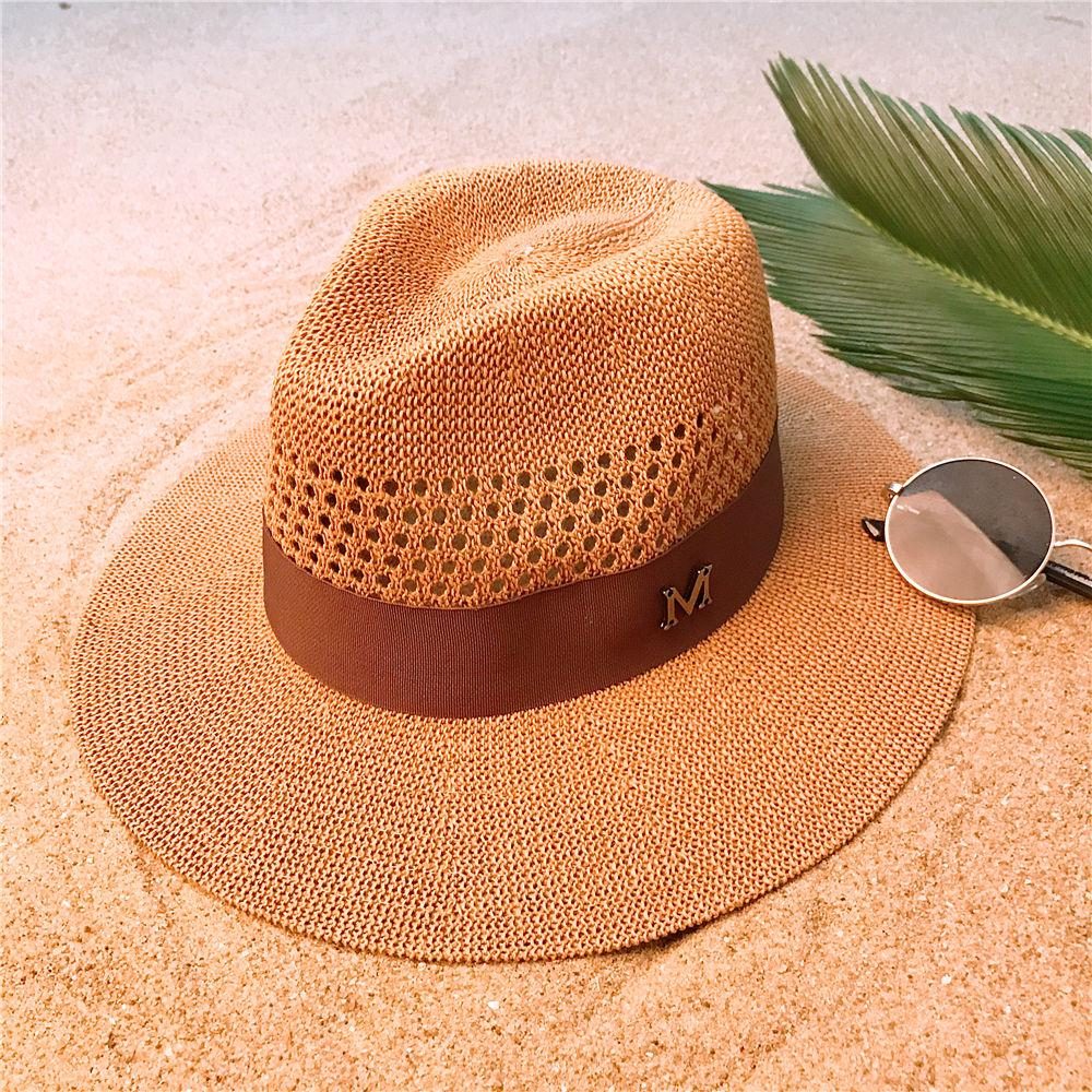 46f568b63c48c Compre Moda Feminina Homens Verão Palha Chapéu Panamá Para A Senhora De  Largura Brim Praia Sun Hat Com Malha Sunbonnet Cap Tamanho 56 58 CM De  Huazu