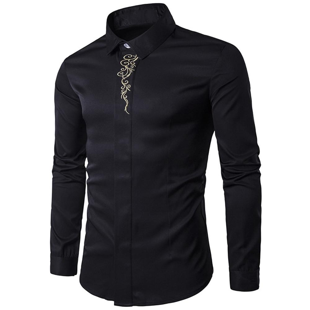 Classic Black Shirt Long Sleeve Male Business Casual Shirts Dinner Party Clothes  Men Blouse Spring New Korean Slim Boy Tops 2018 UK 2019 From Honry e5dd5b16f3b