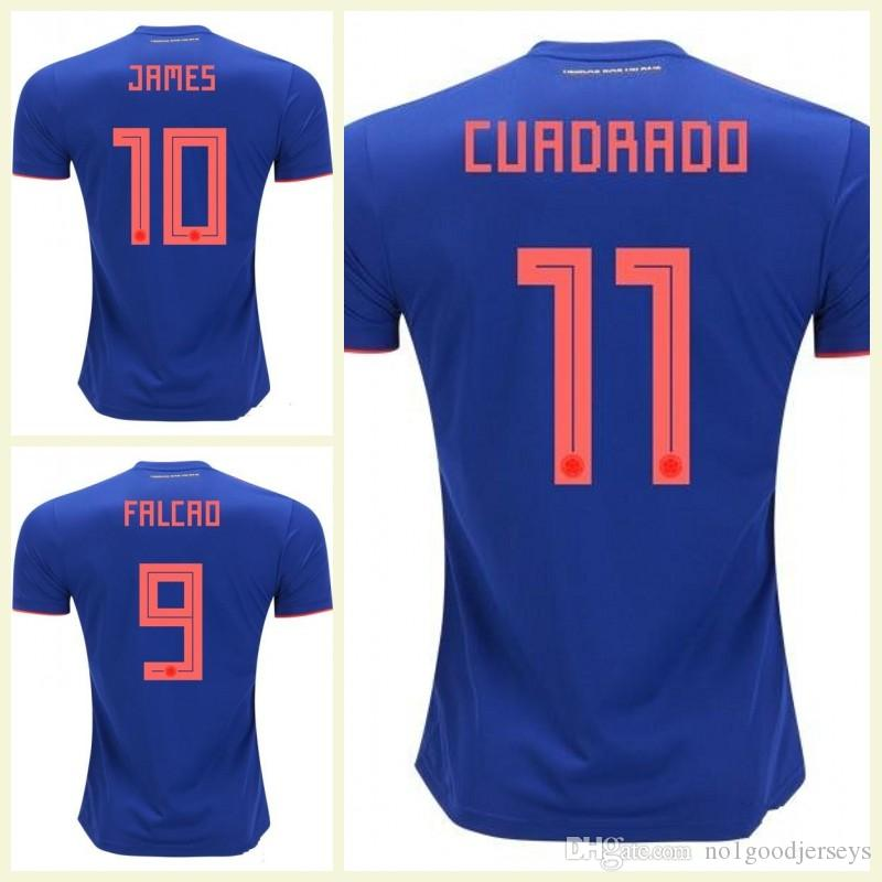 4c9893ee9 World Cup Colombia Away Blue Football Shirt JAMES Rodriguez Camiseta ...