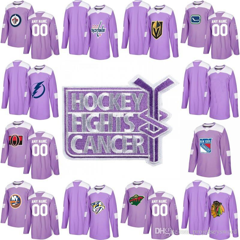 ff38a55df24 2019 Authentic Purple Fights Cancer Practice Jersey New York Rangers  Chicago Blackhawks Minnesota Wild Montreal Canadiens Custom Hockey Jerseys  From ...