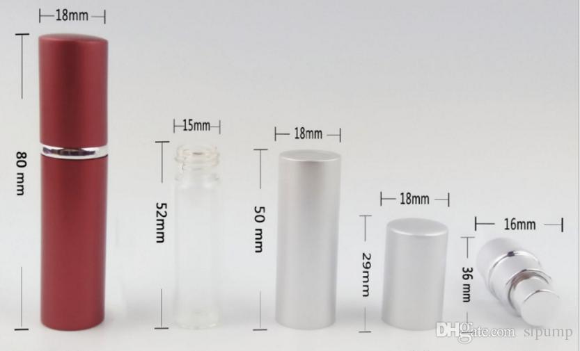 5ML مصغرة رذاذ المحمولة زجاجة عطر 5ML الألومنيوم العطور البخاخة رذاذ زجاج سفر إعادة الملء الحاويات الفارغة مستحضرات التجميل