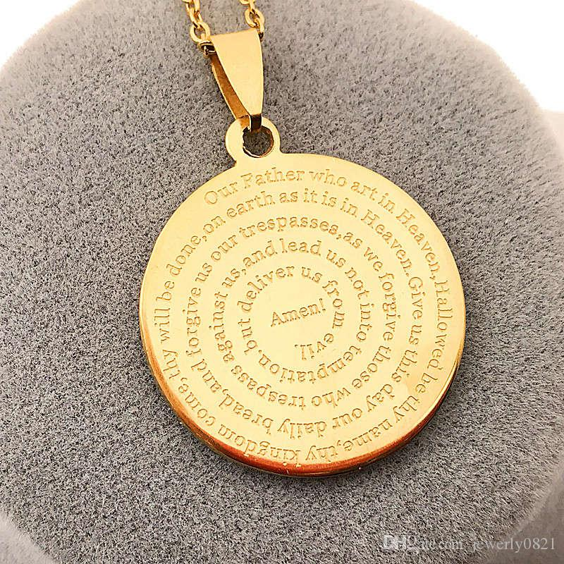Our Father English Engraved Lords Prayer Gold Silver Script Stainless steel Pendant Necklaces With 50cm steel Chain