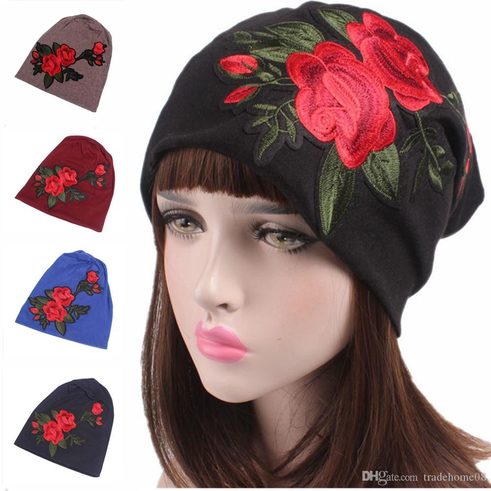 New Brand Fashion Ladies Rose Indian Stretch Turban Hat Women\'S Head ...