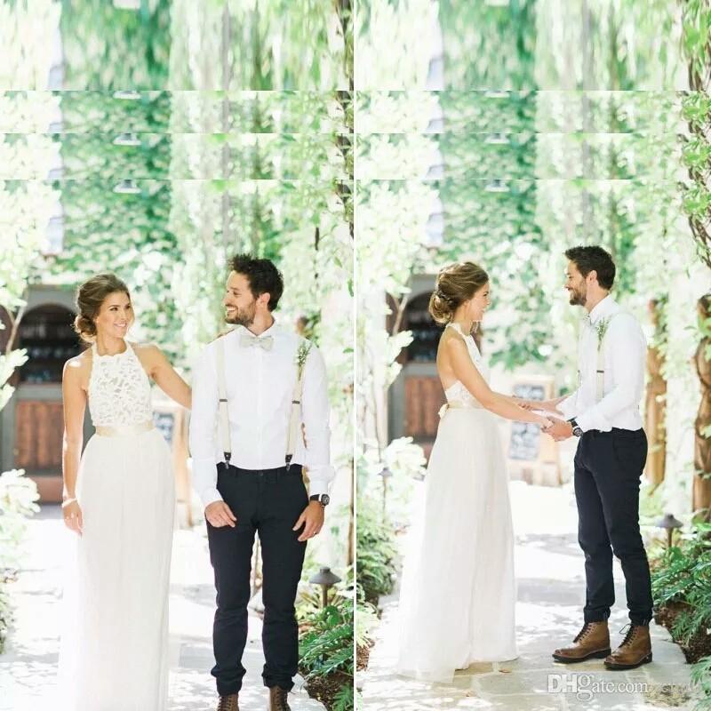 Robe de Mariage 2020 Sommer-Weiß / Elfenbein Tulle-Spitze-Böhmen-Strand-Brautkleider Einfach Neckholder Backless Brautkleider vestidos de noiva