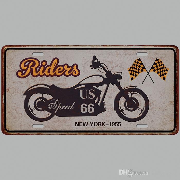 Riders New York Car Plates Number USA License Plate Garage Plaque Metal Tin Sign Bar Decoration Vintage Home Decor