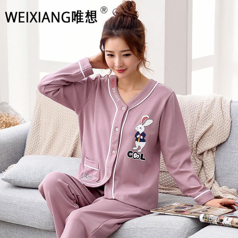 b96e6966591 Compre WEIXIANG 2017 Pijamas Conjuntos Plus Size Pijamas Inicio Ropa Ropa  De Dormir Pijamas Mujeres Pijama De Algodón Pijama Femenino M 3XL A  68.45  Del ...