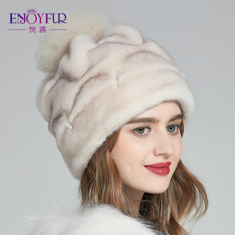 8e9fa2cc665 ENJOYFUR Women S Fur Hats Real Hats For Winter Caps With Fur Pom Pom  Handmade Beanies Lady Cap Of Mink Hat Fashion Slouchy Beanie Skull Cap From  Bensimmons