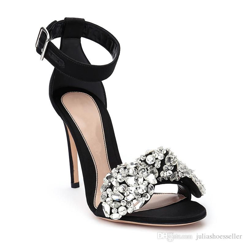 4b4e4777e144 Summer Women Ankle Strap Sandals Crystal Wedding Shoes High Heeled Stiletto  Luxury Big Bowtie Rhinestone Sexy Party Dress Shoes Woman Platform Sandals  ...