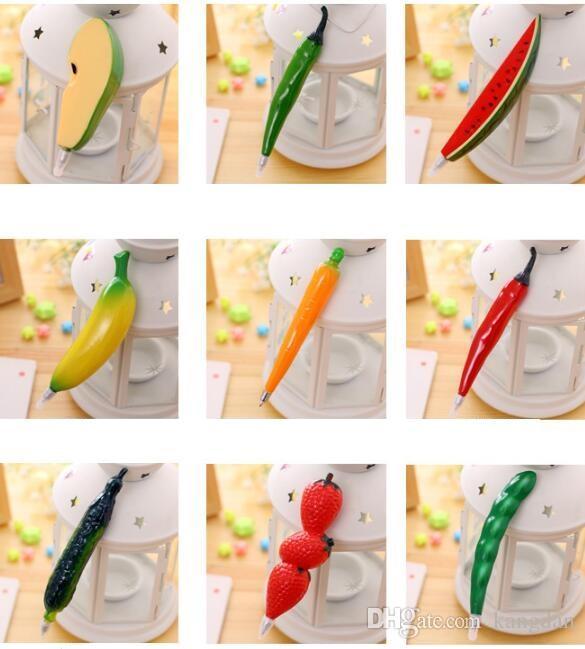 Criativo canetas esferográficas de plástico crianças Presentes forma de frutas Bonito Dos Desenhos Animados caneta Gel estudante da escola Caneta Esferográfica Papelaria Caneta Fresca